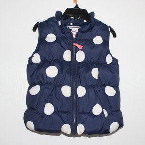Gymboree 4T Puffer Vest Blue White Polka Dot Coat